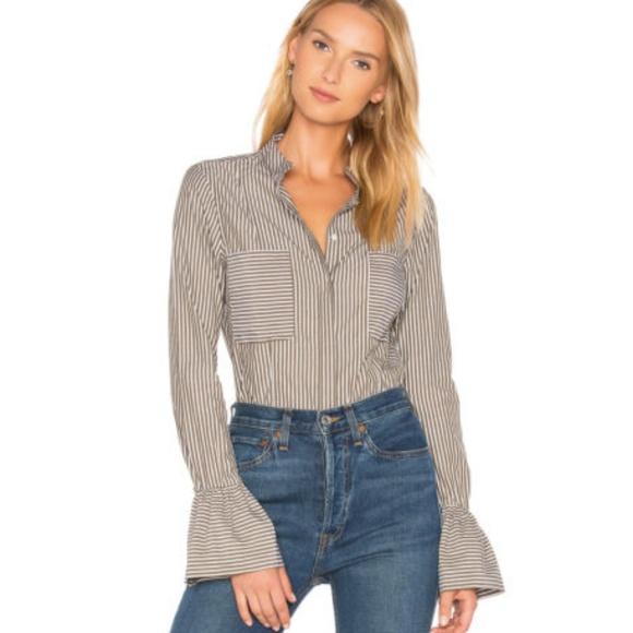 5784eb25 Frame Denim Tops | Striped Poplin Flared Cuff Shirt | Poshmark